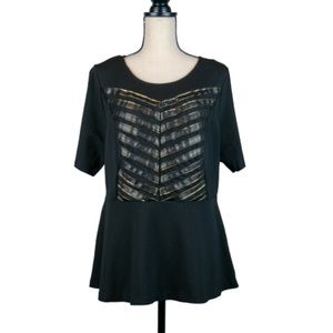 Eloquii Peplum Top With Leather/Mesh Detail Size20
